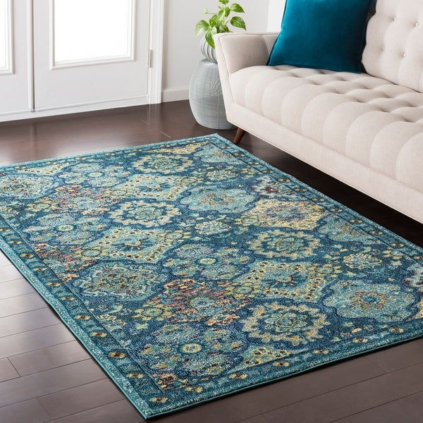 Shop Emilie Traditional Vintage Oriental Teal Area Rug