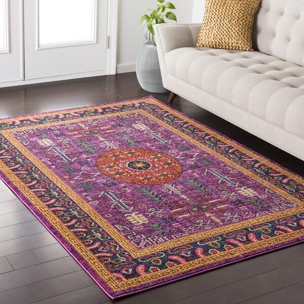 Haute Hali Persian Boho Purple Area Rug 7 X27 10