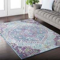 Claire Purple & Teal Distressed Vintage Medallion Area Rug (2' x 3')