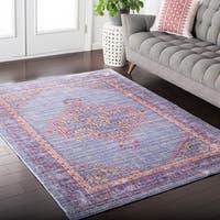 Hali-House Distressed Persian Vintage Violet Area Rug (2' x 3')