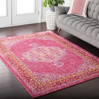 Hali-House Distressed Persian Vintage Pink Rug (2' x 3')