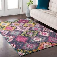 Trocadero Boho Modern Persian Pink/Multi Area Rug (7'10 x 10'3)