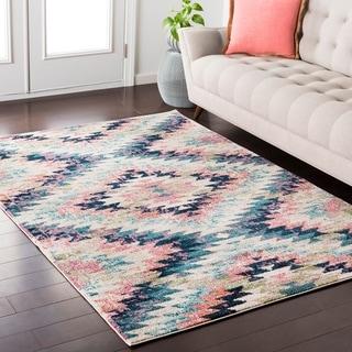 Trocadero Boho Modern Geometric Pastel-Pink/Navy Rug (7'10 x 10'3)