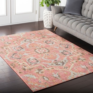 Hali-House Distressed Persian Vintage Pale-Pink Rug (2' x 3')