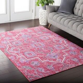 Hali-House Distressed Persian Vintage Pink/ Purple Rug (2' x 3')