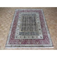 Tabriz Chocolate Brown and Red Wool Hand-knotted Oriental Area Rug (7'11x10'3)