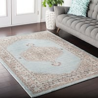 Hali-House Distressed Persian Vintage Light-Blue Area Rug - 7'10 x 10'3