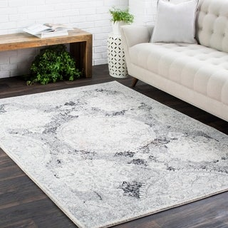 Amelia Distressed Vintage Medallion Grey Rug (2' x 3')