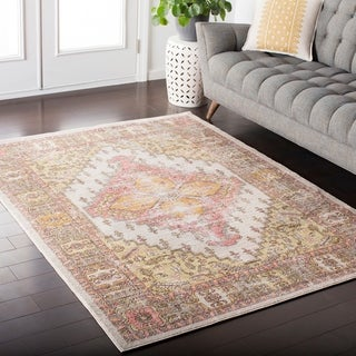 Hali-House Distressed Persian Vintage Pink/ Cream Area Rug (7'10 x 10'3)