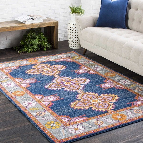 Shop Haute-Hali Persian Boho Navy/ Pink Area Rug
