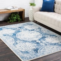 Amelia Distressed Vintage Medallion Blue Area Rug - 7'10 x 10'3