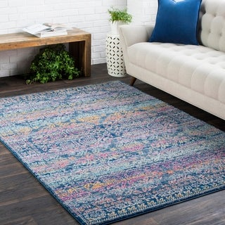 Georgian Persian Traditional Oriental Blue Rug-(2' x 3')