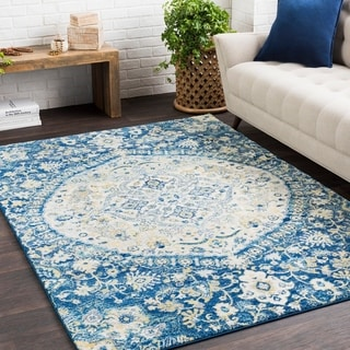 Amelia Vintage Persian Medallion Blue/ Cream Rug (7'10 x 10'3)