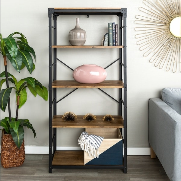 The Gray Barn Kujawa 64 Inch Iron Angled Bookshelf