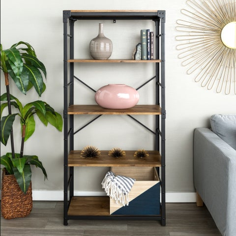 The Gray Barn Kujawa 64-inch Iron Angled Bookshelf