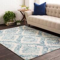 Amelia Faded Vintage Oriental Blue/Beige Area Rug (7'10 x 10'3)
