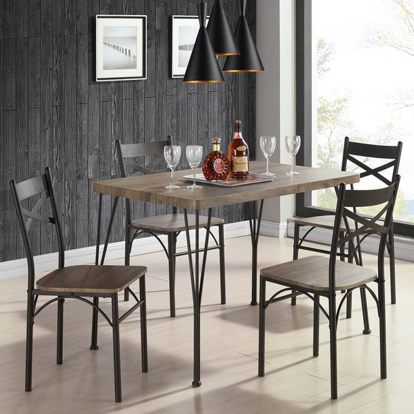 Tiago Rustic Oak Wood/Metal 5 Piece Dining Set