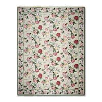 Needlepoint Aubusson Multicolor Red 100-percent Wool Flat Pile Area Rug (10' x 14') - multi