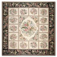 Aubusson Needlepoint Multicolour Wool Flat Pile Area Rug (10' x 11')