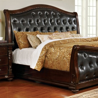Furniture of America Tayler Traditional Dark Cherry Tufted Leatherette Sleigh Bed