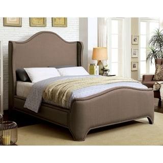 Furniture of America Daur Contemporary Brown Fabric Wingback Bed