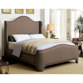 Furniture of America Kellen Contemporary Brown Fabric Wingback Bed