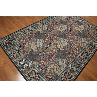 Hand Woven Needlepoint Area Rug Multi-Color 100% Wool Aubusson Flat Pile Rug (6'x9')
