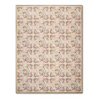 European-style Aubusson Multicolor 100% Wool Needlepoint Flat Pile Area Rug (6' x 9')