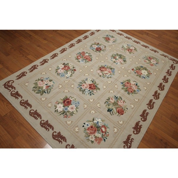 Fine Quality Hand Woven Needlepoint Area Rug Multi Color 100 Wool Aubusson Flat Pile