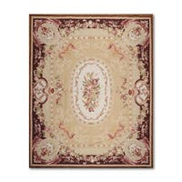 Hand-woven French Needlepoint Aubusson Multicolor, Gold 100-percent Wool Area Rug Flat Pile (8'x10')
