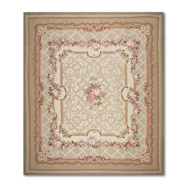 Aubusson Multicolor Wool French Needlepoint Flat Pile Area Rug 8 X27