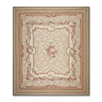 Aubusson Multicolor Wool French Needlepoint Flat Pile Area Rug - 8' x 10'