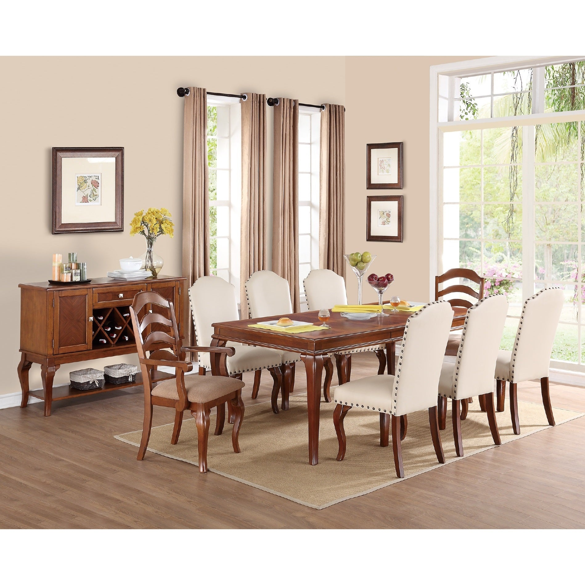 Diana 9 Piece Cherry Dining Table Set