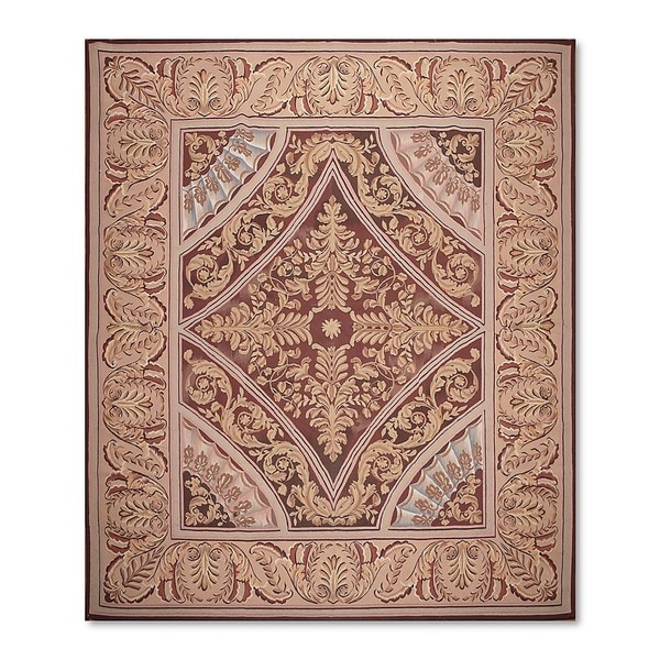 Aubusson Savonnerie Design French Garden Multicolored Wool Handwoven Needlepoint Rug Multi
