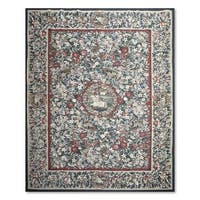 Aubusson Design Multi-Colored Floral Wool Needlepoint Flat Pile Area Rug (8'6 x 11'6)