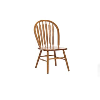 LYKE Home Oak Finish Wood Small Side Chairs (Set of 2)