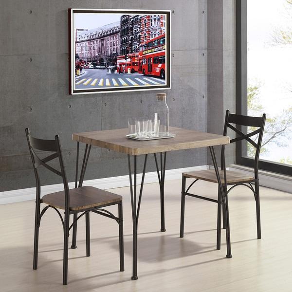 Tiago Rustic Oak 3 Piece Dining Set