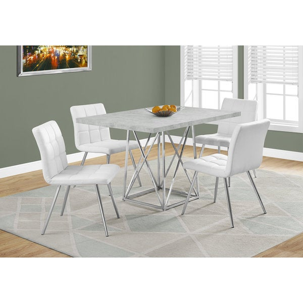 Grey Cement And Chrome Dining Table