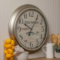 "Young 20.5"" Diameter Coastal Round Metal Wall Clock"