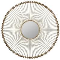 Lankley Round Gold Sunburst Wall Mirror