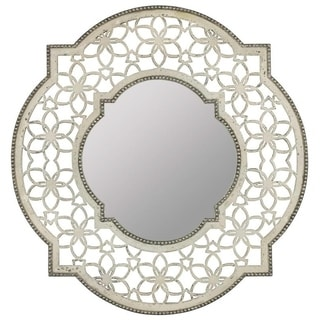 Cooper Classics Carnival Silver/White Glass/Wood Mirror