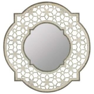 Cooper Classics Carnival Silver/White Glass/Wood Mirror