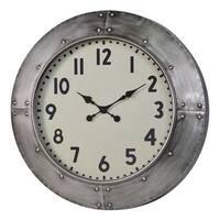 Gurney Rustic Grey Metal Wall Clock