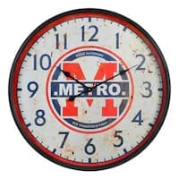"""Industrial 27"""" Oversized Metal and Glass Round Wall Clock"""