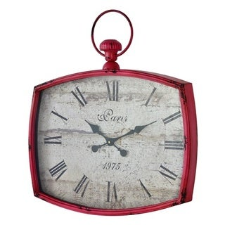 "Emerison 23""x26"" Metal Pink Wall Clock"