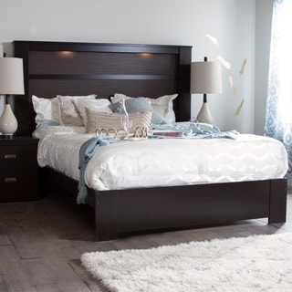 South Shore Gloria Chocolate Queen Platform Bed and King Headboard