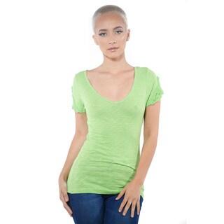 Women's V Neck Cap Sleeve Lace Top