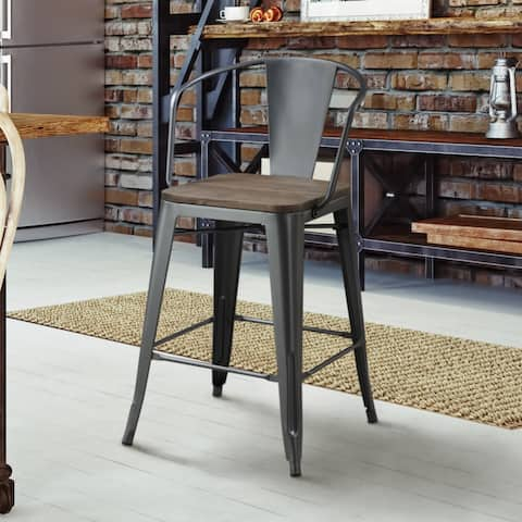 Furniture of America Rish Industrial Grey Counter Chairs Set of 4