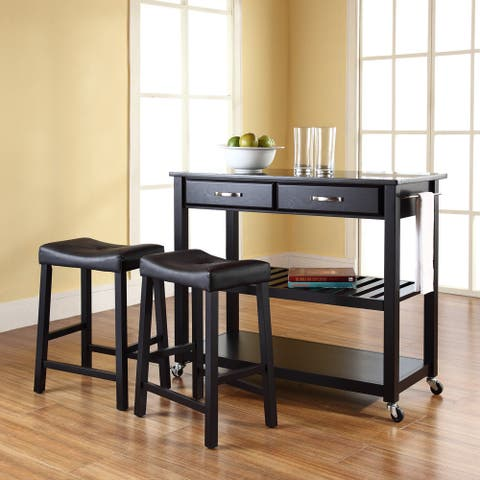 "Solid Black Granite Top Kitchen Cart/Island in Black Finish With 24"" Black Upholstered Saddle Stools"