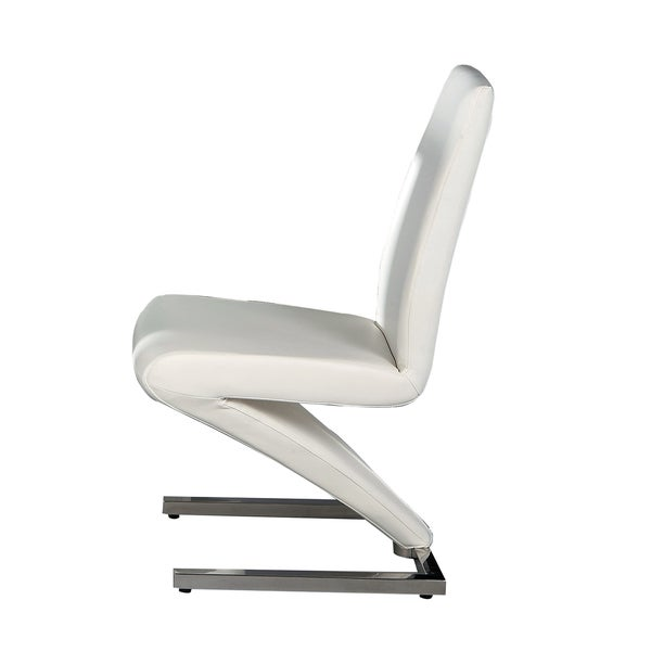Neos Collection White Pu Leather Dining Chairs With Z Shaped Base Set Of 2